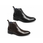 Route 21 LIAM Mens Faux Leather Twin Gusset Chelsea Boots Brown