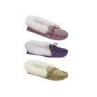 Mokkers LIBBY Ladies Suede Moccasin Slippers Taupe