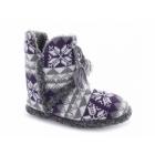 Cara Mia ABIGAIL Ladies Warm Tassle Nordic Bootie Slippers Purple/Grey
