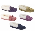 Mokkers KIRSTY Ladies Suede Moccasin Slippers Plum
