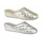 Dunlop SYBIL Ladies Quilted Mule Slippers Silver