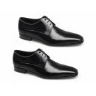 Paco Milan FABIAN Mens Leather Croc Gibson Shoes Black/Grey