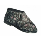 Great British Slippers BELLA Ladies Extra Wide (E+) Fit Bootie Slippers Black