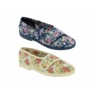 Great British Slippers WENDY Ladies Cotton Floral Velcro Slippers Blue
