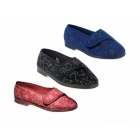Great British Slippers WILMA Ladies Floral Extra Wide (EE) Fitting Slippers Black