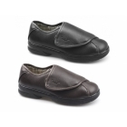 Dr Keller GARRETT Mens Faux Leather Dual Wide Fit Touch Fasten Shoes Brown