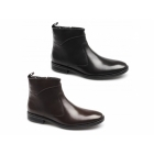 Lucini LEANDRO Mens Leather Zip Boots Brown