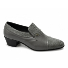Shuperb KIKO Mens Soft Leather Reptile Cuban Heel Shoes Grey