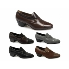 Shuperb KIKO Mens Leather Reptile Cuban Heel Shoes Black