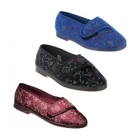 Great British Slippers WILMA Ladies Floral Extra Wide (EE) Fitting Slippers Wine