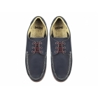 Ikon CHESTER Mens Leather Lace Up Moccasin Shoes Navy