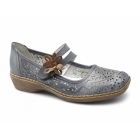 Rieker 41372-12 Ladies Leather Touch Fasten Mary Jane Shoes Blue