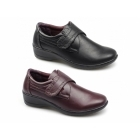 Dr Keller GINA Ladies Faux Leather Touch Fasten Shoes Burgundy