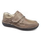 Dr Keller PLUTO Mens Leather Touch Fasten Shoes Tan