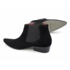 Paolo Vandini VEER III Mens Suede Winklepicker Mid Heel Boots Black