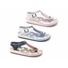 Fantasy Sandals KEFELONIA Ladies Toe Post Flat Sandals Pink/White