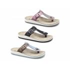 Fantasy Sandals KRIOS Ladies Toe Post Slip On Sandals Grey/Pink