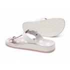 Fantasy Sandals NAXOS Ladies Toe Post Slip On Sandals Pink/White