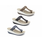 Fantasy Sandals PAXNOS Ladies Toe Post Slip On Wedge Sandals Tan