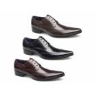 Gucinari AREZZO II Mens Leather Lace Up Cuban Heel Shoes Black