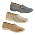 Boulevard MARSHA Ladies Cut-Out Slip-On Shoes Tan