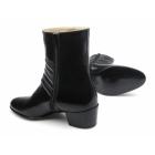 Paco Milan VASCO Mens Leather Croc Cuban Heel Zip Boots Black