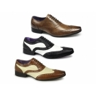 Gucinari CAPONE Mens Funky Leather Brogue Shoes Black & White