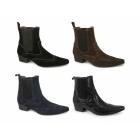 Gucinari HARLEY Mens Pointed Brogue Chelsea Boots Black