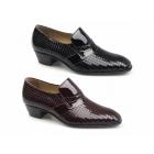 Paco Milan VEGAS Mens Patterned Patent Leather Cuban Heel Shoes Black
