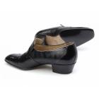 Paco Milan CALIFORNIA Mens Leather Reptile Effect Cuban Heel Shoes Black