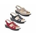 Padders PARIS Ladies Velcro Wide E Fit Flower Sandals Red