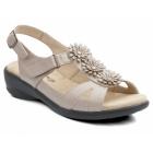 Padders PARIS Ladies Patent Velcro Wide E Fit Flower Sandals Nude