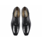 Paco Milan NEVADA Mens Leather Plain Cuban Heel Shoes Black