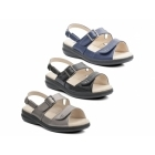 Padders LAURA Ladies Extra Wide Plus EEE Fit Velcro Sandals Black Patent