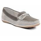 Padders BRIGHTON Ladies Nubuck Wide Moccasin Loafers Grey