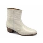 Paco Milan VALENTINO Mens Leather Croc Pattern Cuban Heel Zip Boots Salinas