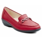 Padders ELLEN Ladies Leather Extra Wide Moccasin Loafers Red