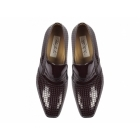 Paco Milan VEGAS Mens Patterned Patent Leather Cuban Heel Shoes Oxblood