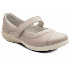 Padders DENISE Ladies Super Wide Plus Fit Velcro Shoes Nude