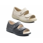 Padders GRACE Ladies Leather Super EEEE Wide Velcro Sandals Oyster