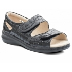 Padders WAVE Ladies Patent Leather Extra EE Wide Velcro Sandals Black