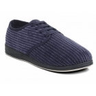 Padders BARKER Mens Corduroy Wide Fit Lace Up Slippers Navy