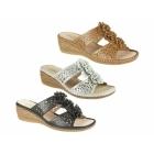 Boulevard THELMA Ladies Floral Wedge Sandals Silver