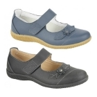 Boulevard DIANA Womens Leather Velcro EEE Wide Fit Mary Jane Shoes Navy