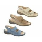 Boulevard JONI Ladies Velcro Faux Nubuck Slingback Sandals Blue