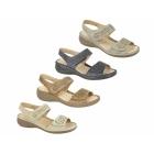 Boulevard DARCY Ladies Faux Nubuck Velcro Halter Back Sandals Beige