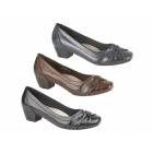 Boulevard ALISA Ladies Low Block Heel Court Shoes Brown