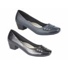 Boulevard SELINA Ladies Studded Bar Block Heel Court Shoes Navy