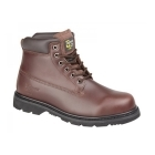Grafters RICK Mens 6 Eyelet Leather Welted Work Boots Chestnut