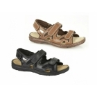 Roamers MILO Mens Leather Velcro Comfort Sports Sandals Brown